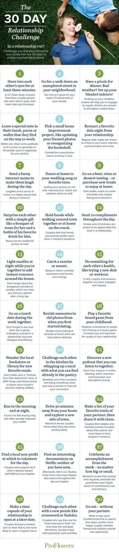 30-Day Relationship Challenge - A fun 30 day challenge to get you falling back in love and feeling connected #love