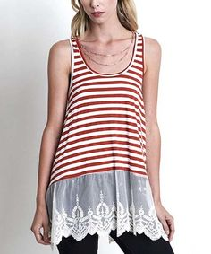 Love this Rust Stripe Lace-Trim Tank on #zulily! #zulilyfinds