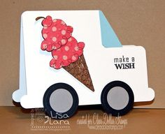 Cute invitation for ice cream social Birthday Celebration, Birthday Parties, Ice Cream Social, Shaped Cards, Ice Cream Party, Embossing Folder, Recipe Cards, Stampin Up, Card Stock