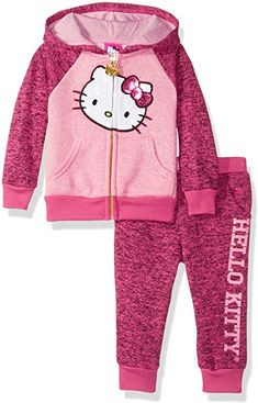 6bebce341b Amazon.com  Hello Kitty Toddler Girls  2 Piece Hooded Fleece Active Set