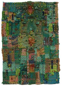 Fabric art looks like a circuit board, re-visioned