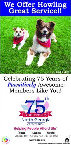 Celebrating 75 Years of  Pawsitively Awesome Members Like You!    Helping People Afford Li... | North Georgia Credit Union - Hartwell, GA #georgia #HartwellGA #shoplocal #localGA