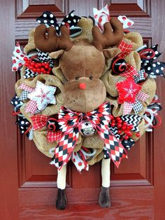 Rudolph Christmas Deco Mesh Wreath Reindeer by SparkleWithDesigns                                                                                                                                                                                 More