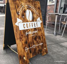 Handmade wooden Coffee Shop pavement sign, Produced in-house by MarqueMakers (Sheffield) #marquemakers #aboards #pavementsigns #woodensigns #woodsigns #signage #reclaimedpallets #reclaimedpalletsign #woodart #distressedwood #palletart #palletsign #coffeecuriosity #smallcafe #coffee #coffeecuriosity #coffeeshop #design