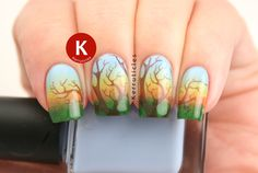 "I'm a FIEND for nail art, I follow just about every nail guru online, and this is one of the prettiest autumn design I've ever seen! :-) ""Sunset (Family) Tree 