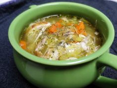 """Low Carb Chicken Noodle Soup - Quick soup using pre-cooked rotisserie chicken and spaghetti squash for """"noodles""""!"""