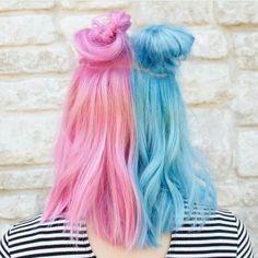 two tone pastel pink pastel blue cotton candy buns half up half down