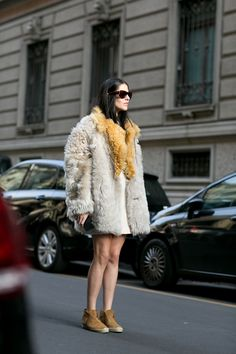 Must-See Street Style From Milan Fashion Week Fall 2015 - oversized fur winter coat + suede moccasins