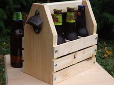 A new item available for sale from The Wood Goods. Check Facebook for a Discount! Rustic Pine 6 Pack Carrier with Beer Bottle Opener by TheWoodGoods