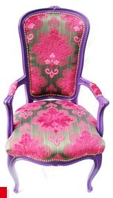 Vintage parlor chair, reupholstered in a platinum and magenta chenille damask… Purple Furniture, Colorful Furniture, Cool Furniture, Painted Furniture, Baroque Furniture, Vintage Furniture, Old Chairs, Vintage Chairs, Antique Chairs