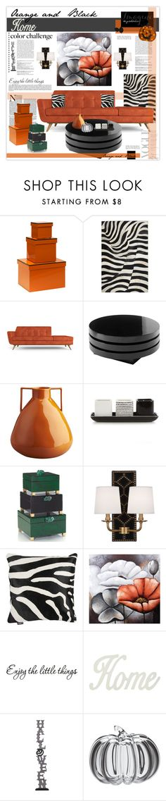 """Color Challenge: Orange and Black"" by mcheffer on Polyvore featuring interior, interiors, interior design, home, home decor, interior decorating, Bungalow 5, Joybird Furniture, CB2 and Betty Jackson"
