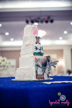 Fun cake idea! Front half is bride's cake and back half is groom's cake.   Wedding by Southern Event Planners