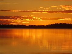 Sunset over Lake of the Woods - look at that orange!