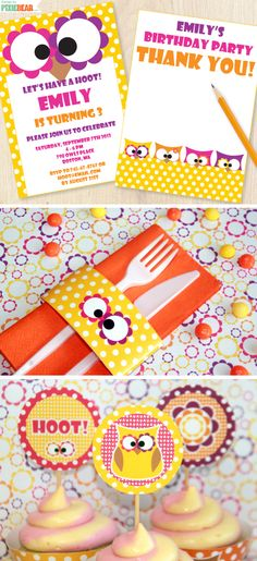 DIY Owl Birthday Party Set for Girls by PixieBearParty on Etsy