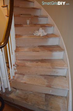 Smart Girls DIY:  Using Citristrip to strip paint off stairs