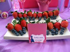 Doc McStuffins birthday party decor. Stuffy's sticks of courage - fruit skewers.