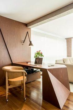 Escritório em casa: 9 ideias de decoração para trabalhar com estilo - Casa Vogue | Ambientes Home Office, Design Elements, Dining Bench, Architecture Design, Table, House, Furniture, Workspaces, Home Decor