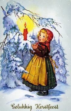 Vintage Christmas illustration -- illustrated by Liselotte Fabig Distling (German, -- ? Mary Christmas, Ghost Of Christmas Past, Christmas Labels, German Christmas, Christmas Printables, Christmas Art, Vintage Christmas Images, Christmas Pictures, Winter Painting