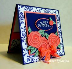 Stampin' Up! Swirly scribbles, floral boutique dsp, navy, flamingo