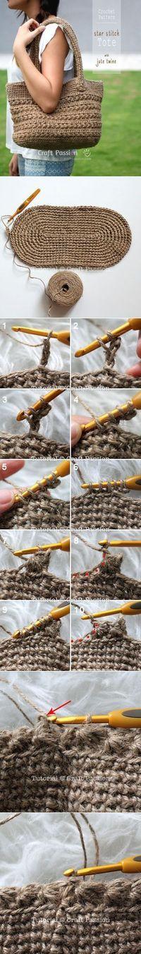 Crochet | Star Stitch Tote With Jute Twine | Free Pattern...<3 Deniz <3