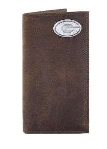 NCAA Georgia Bulldogs Light Brown Crazyhorse Leather Roper Concho Wallet, One Size by ZEP-PRO. $39.98. Attractively boxed to make the perfect gift. 100 Percent genuine crazyhorse leather wallet. Decorative silver gun metal concho. Officially licensed NCAA team product. Assembled in the USA. Carry your Georgia Bulldogs school and team spirit with you at all times. This light brown genuine crazyhorse soft leather secretary-style roper wallet is decorated with a silve...