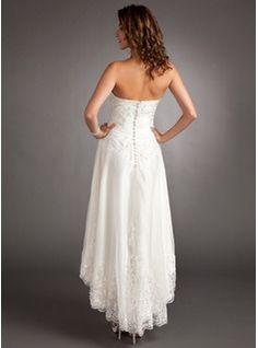 2c8910f4c A-Line Princess Sweetheart Asymmetrical Tulle Wedding Dress With Lace  Beading (002011546)