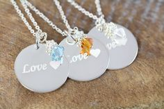 3 Engraved Custom Flower Girl Maid of Honor Necklaces, Love Pendant, 925 Sterling Silver Bridesmaid Flowers, Bridesmaid Gifts, Bridesmaids, Flower Girl Jewelry, Flower Girl Gifts, Custom Jewelry, Custom Necklaces, Little Blessings, Girls Necklaces