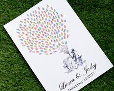 Mano dibujado huella digital boda pulgar imprimir por LiWedding                                                                                                                                                                                 Más
