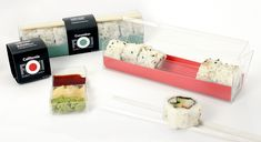 Packaging design for theoretical sushi company. The box is constructed out of a single plastic sheet that has been folded and trimmed to create a rigid container. Packing Box Design, Packing Boxes, Food Box Packaging, Food Packaging Design, Sushi Menu, Homemade Sushi, Plastic Sheets, Food Illustrations, Interactive Design