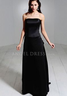 A line Satin Natural Waist Strapless Floor Length With Ruching Bridesmaid Dress