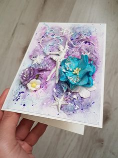 Handmade Paper Greeting Cards Gift For Her And Him Valentines Day Style Shabby Chic Flowers Girl Scrapbook Valentine Scrap Colors blue violet Children Ballet Dance Ballerina Dancer Happy Birthday
