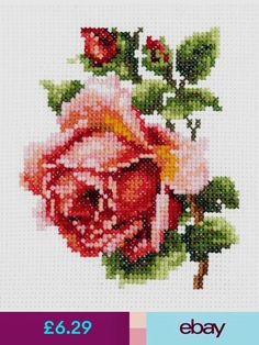 cross stitch - inspiration only Beaded Cross, Crochet Cross, Cross Stitch Rose, Cross Stitch Flowers, Hand Embroidery Kits, Embroidery Patterns, Cross Stitching, Cross Stitch Embroidery, Cross Stitch Designs