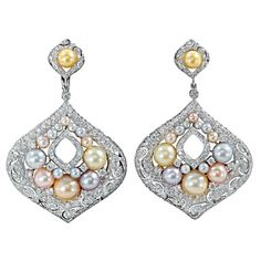 Gorgeous Multicolored Pearl Diamond Earring | From a unique collection of vintage dangle earrings at https://www.1stdibs.com/jewelry/earrings/dangle-earrings/