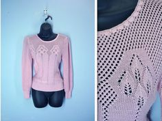 Vintage Pink Sweater / 1970s Lacy Weave Puffed by SnapVintage, $21.00