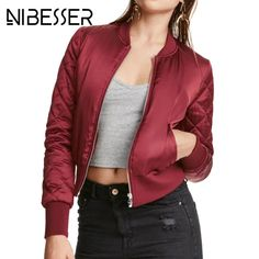 NIBESSER Autumn Winter Basic Jackets Women 2017 Baseball Collar Windbreaker Female Jacket And Coats Boyfriend Overcoats Z30 #Affiliate