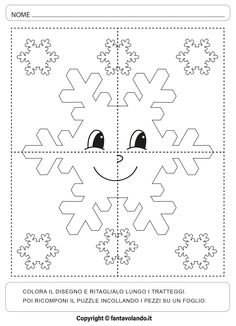 Snowflakes, Crafts For Kids, Puzzle, Activities, Education, Math, Winter Time, Seasons Of The Year, Notebooks