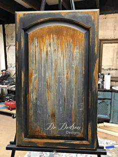 The rusty finish that was created on this cabinet door can be added to almost anything. Even furniture!