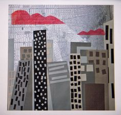 City Scape - buildings new york city- original collage.