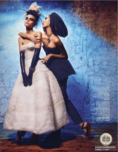 """Emma Xie, Claire Collins featured in the L'Officiel France editorial """"Extreme Couture"""" from October 2012 , showing Christian Dior Haute Couture Dior Jewelery"""