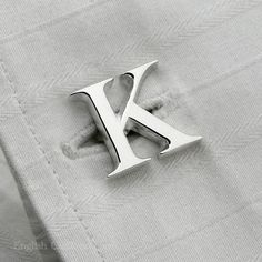 Initial K cufflink in solid hallmarked sterling silver from English Cufflinks. A personalised letter 'K' handmade for that individual gift