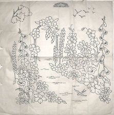Vintage Briggs embroidery LARGE transfer - Flower Arch with Foxgloves & Lupins