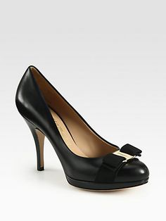 Salvatore Ferragamo - Tina Leather & Patent Platform Pumps
