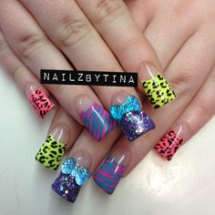 animal zebra pearl cheetah print colorful blinged out nail art designs pics - Google Search