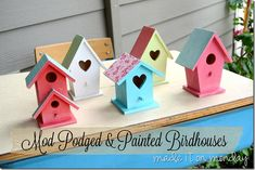 Mod Podged and Painted Birdhouses. I can do this. Joann Fabrics sells these birdhouses and some awesome scrapbooking papers.