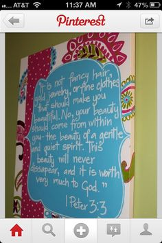 What a great bible verse for a little girl to read every morning!!!