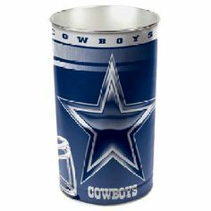 """Dallas Cowboys NFL Tapered Wastebasket (15 Height) by Wincraft by WinCraft. $15.99. Officially licensed wastebasket. These metal wastebaskets are a great way to decorate a room or office. Wastebaskets are 15 tall by 10.25"""" diameter and are tapered for easier storage/display and shipping. Made in USA."""" Availability: Usually ships within 1-2 business days."""