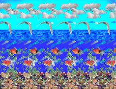 My favorite.  Stereogram by Carlos Contreras: Ocean. Tags: , hidden 3D picture (SIRDS)