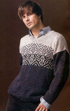 красивый мужской пуловер вязаный спицами