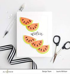 Description Intro Video Do you love watermelon? Biting into the cold, juicy fruit is a fond childhood memory for many of us. Now, you can add a fruity sentiment and image to your handmade projects to let your loved ones know just how much you care. This cute mini set includes a multi-layered melon and a punny sentiment Watermelon Slices, One In A Melon, Cute Fruit, Exotic Fruit, Altenew, One Design, Clear Stamps, Scrapbook Pages, Childhood Memories