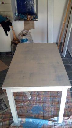 DIY Ingo ikea table painted white-blue